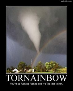 Im not supposed to love tornados, but I do. Put a tornado and a rainbow together, truly awesome. All Nature, Science And Nature, Amazing Nature, Tornados, Thunderstorms, Cool Pictures, Cool Photos, Funny Pictures, Funny Images