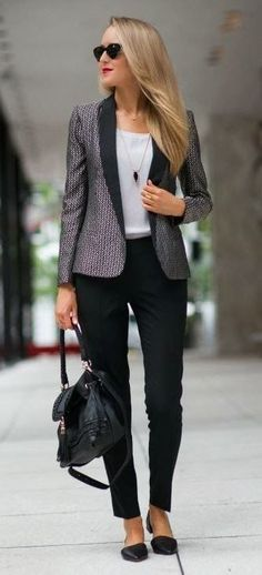 fashionable office style / blazer + black pants + bag + top