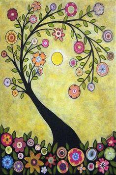 Rug Hook Crafts Paper Pattern Collage Tree Folk Art Abstract Primitive Karla G Art Floral, Art Fantaisiste, Art Carte, Ouvrages D'art, Tree Illustration, Naive Art, Whimsical Art, Tree Art, Owl Tree