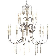 "Hannah Chandelier Large Currey & Company Stockholm White/Rust 12 Bulbs Wrought Iron/Wood 2 Tiers 53""Wx62""Hx53""Diameter"
