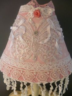 pink shabby chic things | LAMPSHADE -Pink White Shabby Chic Butterfly Lampshade-Vintage Lace ...