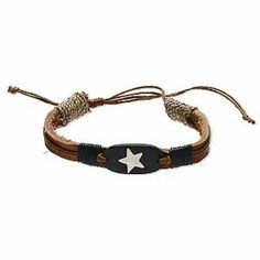 Black and Brown Leather Bracelet with Steel Star Inlay Adjustable Length AzureBella Jewelry. $7.99. Genuine leather with cotton cord. Adjustable up to 12 inches. Handmade. Inlaid steel star design. Jewelry gift box included