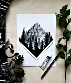 forgotten fog art print. Misty trees in black and white paint. Illustration of forest and fog.  Featuring geometric accent and birds flying. By artist Matt Osborn