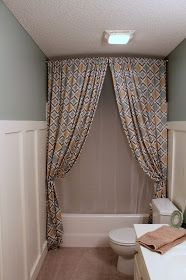 Regular curtains used as decorative shower curtains
