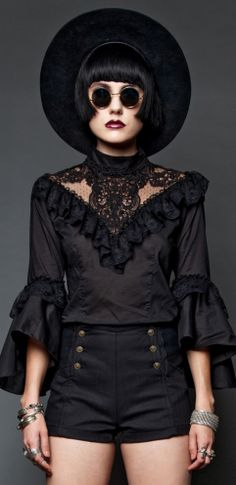 Womens - Tops - Lace In The Right Place Blouse Dark Fashion, Gothic Fashion, Victorian Fashion, Nu Goth, Lip Service Clothing, Goth Chic, Tomboy Look, Grunge, Gothic Outfits