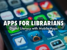 Apps for Librarians: Digital Literacy with Mobile Apps This slideshow is very thorough and informative about the importance of using mobile apps as education for digital literacy in the library. Library App, Library Skills, Library Services, Library Lessons, Library Programs, Library Ideas, Library Week, Library Themes, Middle School Counseling