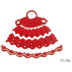 Christmas Crochet Potholder, Crochet Red and White Potholder, Presina... ($10) ❤ liked on Polyvore featuring crochet