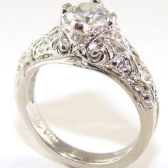 European Diamond Contemporary Antique Engagement Ring