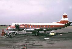 Vickers Viscount 701 de Cambrian Airways en el aeropuerto de Bristol, Inglaterra, 1963.