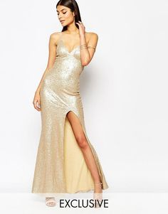 Club L Tie Back Sequin Maxi Dress With Thigh Split