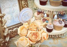 Marie-Antoinette-Inspired-Shoot--{Cupcakes}. Read More - http://onefabday.com/vintage-tea-party-hen-party/