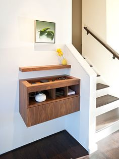 clean, efficient entry - charging dock, space for keys, everything you need.  perfect for space challenged entries.  design by j. weiss design