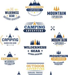 Outdoor adventures rock climbing badge set vector