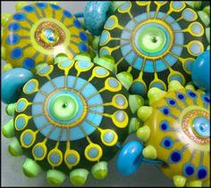 """MICHOU Lampwork Beads """"GREEN JELLY FISH"""""""