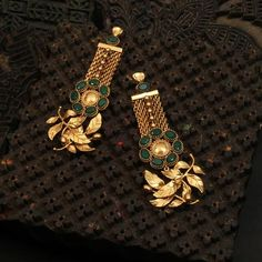 Materials Used: gold plated copper, Crystals, Post Fastening for pierced ears, Anti Tarnish Since each piece. Gold Jhumka Earrings, Gold Earrings Designs, Indian Earrings, Antique Earrings, Indian Jewelry, Antique Jewellery Designs, Gold Jewellery Design, Diamond Jewellery, Gold Jewelry Simple