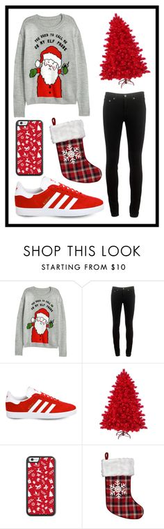"""#588 red Christmas"" by xjet1998x ❤ liked on Polyvore featuring H&M, rag & bone and adidas"