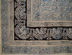 #checkitout #BLOCK PRINT INDIAN TAPESTRY - Hand block printed vegetable dye tapestry. Very primitive appeal with drops of misplaced dye or smudges from the artis...