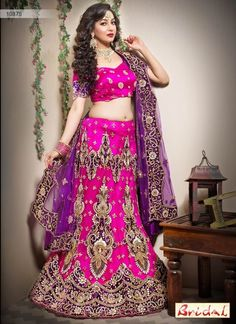 Lehenga choli is unique way, mostly worn at any events. Grab this tempting net hot pink lehenga choli. Raw Silk Lehenga, Pink Lehenga, Net Lehenga, Lehenga Choli Online, Bridal Lehenga Choli, Indian Lehenga, Indian Ethnic Wear, Beautiful Saree, Pink Fashion