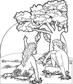 Adam And Eve Catholic Coloring Page For The Story Of Creation Garden Eden