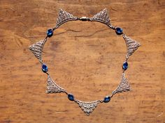 Art Deco Blue Sapphire Filigree Choker by StarShineVintage on Etsy #vogueteam #czechglass#filigree #chokernecklace #artdeconecklace