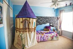 """What a cool birthday present ... a princess-themed """"big girl"""" bedroom!"""