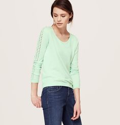 Open Stitch Sleeve Sweater | Loft