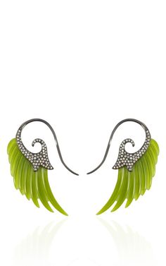 Fly Me To The Moon Jade And Diamond Wing Earrings by Noor Fares