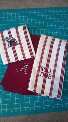 Roll Tide Alabama  Three Personalized Embroidered by SewChicky, $19.99