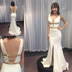Affordable Prom Dresses 2016 Sexy White Prom Dresses With High Split And Plunging Neck Gold Sequins Satin Mermaid Elegant Evening Gowns Custom Made Black And White Prom Dresses From Nicedressonline, $148.64  Dhgate.Com