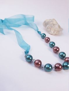 Peacock blue/green and brown pearl Necklace by gr8byz
