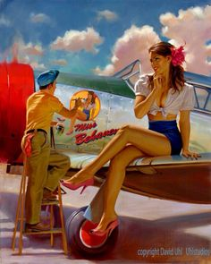 Collection of Aviation Pin Up and Nose Art copyrights belong to their respective owners. These are images I've found publicly accessible while browsing the Internet, unless otherwise stated. Pinup Art, Pin Up Posters, Poster S, Military Pins, Military Art, Nose Art, Pin Up Girls, Dibujos Pin Up, Pin Up Girl Vintage
