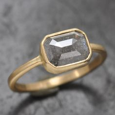 Natural grey rose cut diamond bezel solitaire ring - 18k gold