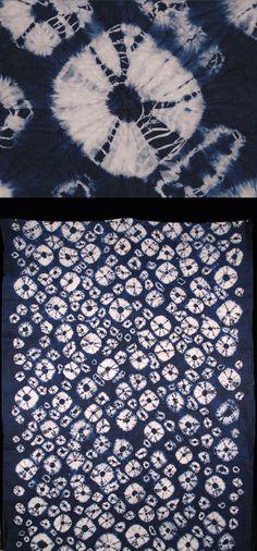 Africa | Adire Oniko textile from the Yoruba people of Nigeria | Cotton damask; indigo tie dyed