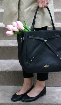 The new Turnlock Tie Collection from Coach is timeless, feminine, and functional. Loving this refined leather black tote! #ad