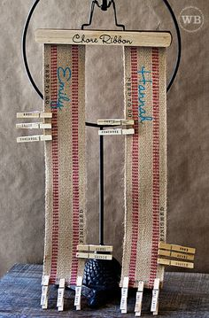 Clothespin Chore Chart. (Ready to take chores online? Try FamZoo.com)