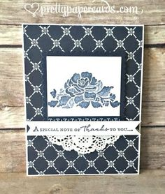 handmade card ... Floural Phrases ... navy and white ... stamped posy that looks like stenciling ... patterned paper ... doily ... like it! ... Stampin' Up!