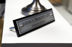 Desk NamePlate Office Accessory Personalized Wood Desk Plaque and Acrylic makes a fantastic Business Gift 10x2.5