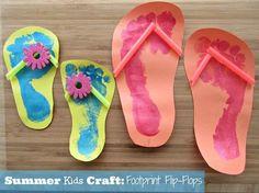 Summer Kids Craft Idea - Footprint Flip Flops