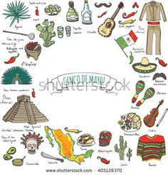 Cinco De Mayo hand drawn cartoon collection Doodle Mexico set Vector illustration Sketchy mexican food icons United Mexican States elements Maracas Sombrero Maya Pyramid Aztec Tequila Chili pepper