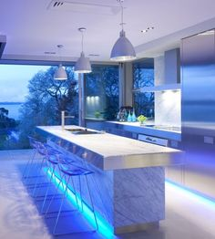 Top 17 Design of Light Filled in a Modern Kitchen by Mal C Idea: Awesome Blue LED Light Filled Modern Kitchens Silver Cabinetry ~ mybutteryfly.com Kitchen Inspiration