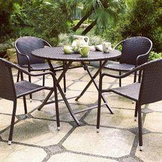 Palm Harbor 5-Piece Wicker Patio Dining Furniture Set