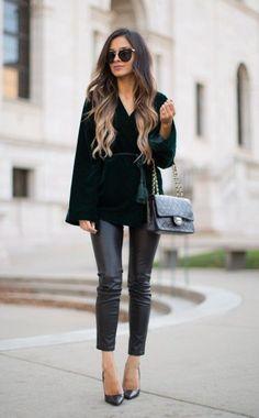 #preppy #fashion /  Black Blouse // Black Leather Pants // Black Pumps