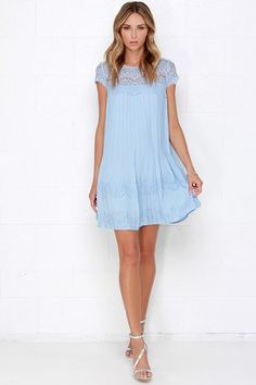 Darling Demi Light Blue Lace Shift Dress at Lulus.com!