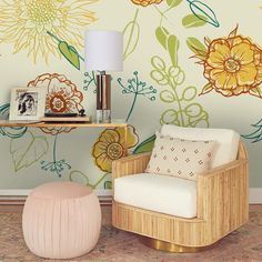 3D Hand-painted Flowers Yellow Wallpaper Mural Peel and Stick Wallpaper Removable Wall Prints Sticke
