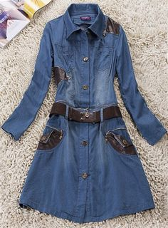 Blue Lapel Long Sleeve Drawstring Waist Denim Dress  Cute!!