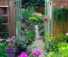 Most people think of their garden as a whole, but make magic like Sikorski did by creating vignettes. Here, for example, her gates frame a view of the lushly planted backyard, inviting a closer look.