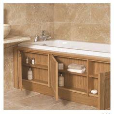 house bathroom Stonewood UK custom made storage bath panel Bath Panel Storage, Clever Bathroom Storage, Bathroom Organization, Clever Storage Ideas, Storage Tubs, Creative Storage, Hidden Storage, Extra Storage, Diy Storage