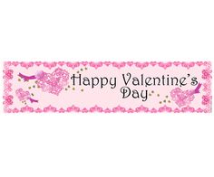 Happy Valentines Lace Themed Banner - 120 x 29.7cm. Romantic love themed Valentine's Day themed party supplies, Valentine's Day heart balloons, Valentine's Day decorations, tableware and sexy valentine's fancy dress.