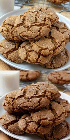 Easy Homemade Cookies, Easy Cookie Recipes, Dessert Recipes, Ginger Snaps Recipe, Ginger Snap Cookies, Ginger Molasses Cookies, Christmas Desserts, Christmas Cookies, Holiday Baking