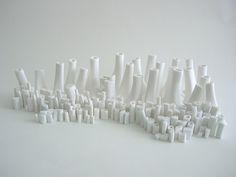 Sylvie Godel, Bones City Porcelaine (porcelain) D 500 x 100 x 200 mm